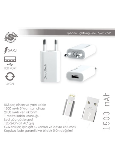 Usb Charger Flat Led Cable iPhone 5G/S-Soultech